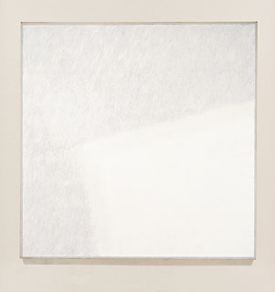 Surface Veil I, 1970. Oil and blue chalk on stretched linen canvas, 143 15/16 x 144 inches. Solomon R. Guggenheim Museum, New York, Panza Collection. 91.3851