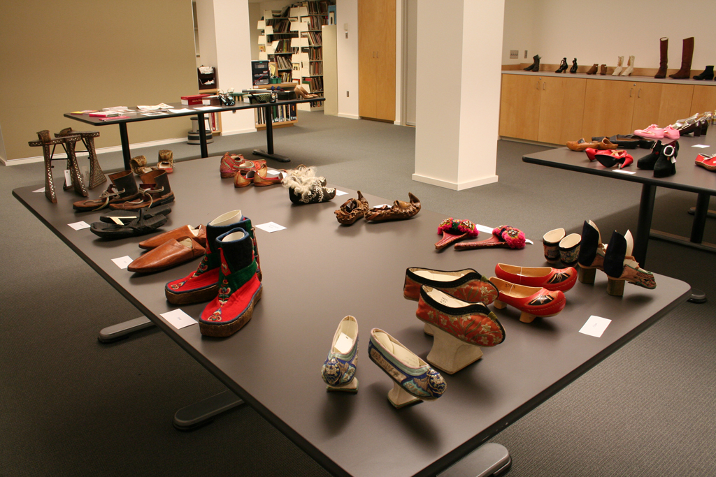 Shoes from the Henry Art Gallery's permanent collection displayed in the museum's Reed Collection Study Center