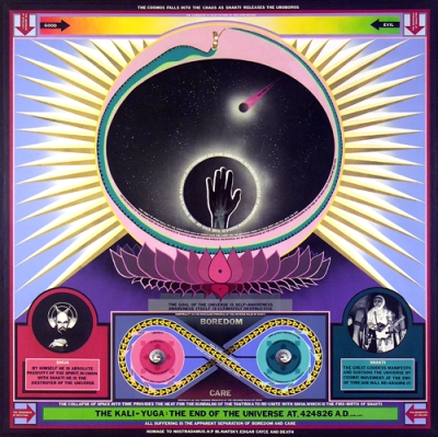 Paul Laffoley. THE KALI-YUGA: THE END OF THE UNIVERSE AT 424826 A.D. (The Cosmos Falls in the Chaos as the Shakti Orohoros Leads to the Elimination of all Value Systems by Spectrum Analysis). 1965. Oil, acrylic, and vinyl lettering on canvas. Courtesy of Kent Fine Art, New York.