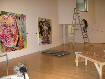 Max Pethe, Henry Prep Crew, readies the Stroum Gallery for the exhibition opening on May 24.