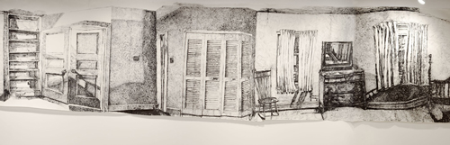 Dawn Clements. Middlebury [detail]. 2000. Sumi ink and IVA glue on paper. Promised gift of William and Ruth True. Photo credit: Beth Phillips.