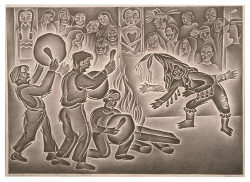 Helmi Dagmar Juvonen Winter Dance Time, 1946 Lithograph on paper