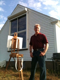 Philip Koch standing outside Edward Hopper's S. Truro, MA painting studio in Oct. 2012 during his 14th residency in the studio.