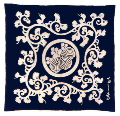 Japan. Furoshiki (wrapping cloth). Plain weave; Resist dyed, paste resist (tsutsugaki). Cotton; Vegetable dye (indigo); Pigments; Tsutsugaki printing. Henry Art Gallery, Frances and Thomas Blakemore Collection, 96.2-181.