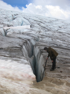 Field Recording a Glacier. Photo courtesy of Steve Peters.